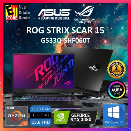 ASUS ROG STRIX SCAR 15 G533Q-SHF060T GAMING LAPTOP -METAL BLACK (RYZEN 9-5900HX/32GB/1TB SSD/15.6″ FHD 300HZ/NVIDIA RTX 3080 16GB/W10/2YRS)+MOUSE & BACKPACK(Metal Black)