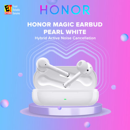 Honor Magic Earbuds (PEARL WHITE) Hybrid Active Noise Cancelling Clear Hands-free Calling Intuitive Touch Controls Wireless Earbud (1 Year Honor Malaysia Warranty)