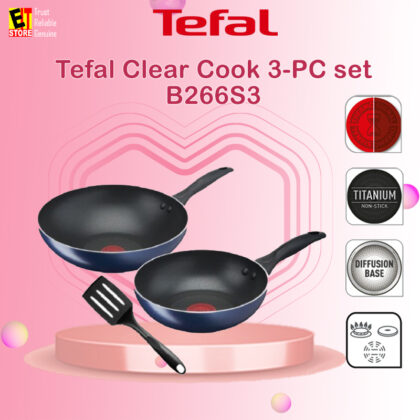 TEFAL CLEAR COOK 3-PC SET (FP26+WP28+SMALL SPATULA) B266S3