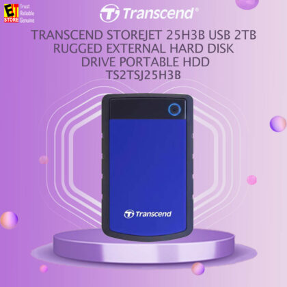 TRANSCEND Storejet 25H3B USB 2TB Rugged External Hard Disk Drive Portable HDD (Blue)