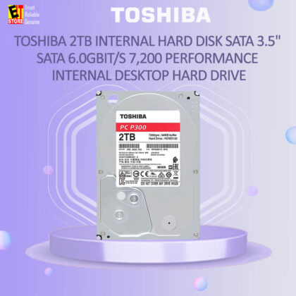 Toshiba 2TB Internal Hard Disk SATA 3.5″ SATA 6.0Gbit/s 7,200 Performance Internal Desktop Hard Drive (HDWD120UZSVA)
