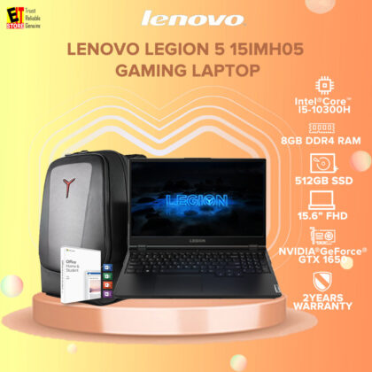 LENOVO LEGION 5 15IMH05 ( 82AU00D0MJ ) GAMING LAPTOP (I5-10300H/8GB/512GB SSD/15.6 FHD 144HZ/4G GTX 1650/W10/2YRS PREMIUM WARRANTY/MS.OFFICE 2019 Home & Student 2019) + Backpack