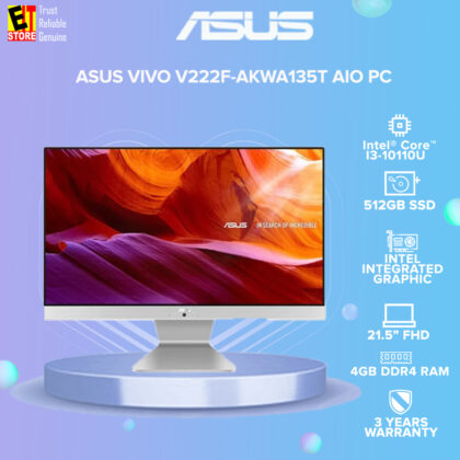 ASUS VIVO V222F-AKWA135T AIO PC DESKTOP (I3-10110U/4GB/512GB SSD/21.5″ FHD/INTEGRATED/W10/3YRS)+ KEYBOARD & MOUSE