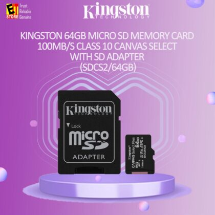 KINGSTON 64GB MICRO SD MEMORY CARD 100MB/s CLASS 10 CANVAS SELECT WITH SD ADAPTER (SDCS2/64GB)