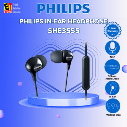 PHILIPS SHE3555 SHE3555BK HEADPHONE WITH MIC BLACK EARPHONE